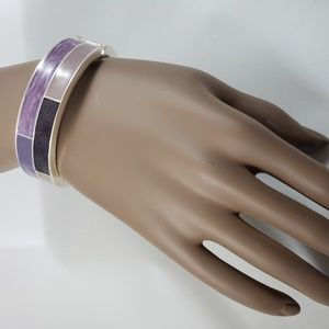 Jewelry - Purple Enamel Bangle Bracelet Silver Tone